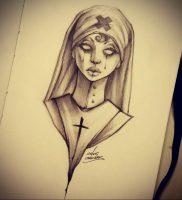 Эскиз Тату Монашка 16.02.2020 №1039 -nun tattoo- tattoo-photo.ru