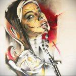 Эскиз Тату Монашка 16.02.2020 №1050 -nun tattoo- tattoo-photo.ru