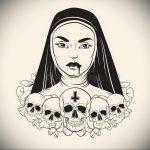 Эскиз Тату Монашка 16.02.2020 №1053 -nun tattoo- tattoo-photo.ru