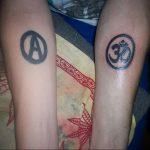 Фото знак анархии тату 24.03.2020 №008 -tattoo anarchy- tattoo-photo.ru