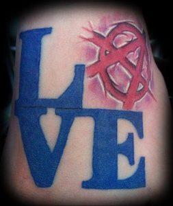 Фото знак анархии тату 24.03.2020 №038 -tattoo anarchy- tattoo-photo.ru