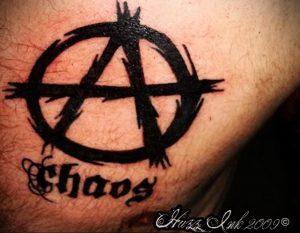 Фото тату анархия на груди 24.03.2020 №005 -tattoo anarchy- tattoo-photo.ru