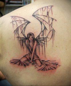 Фото тату ангел на лопатке 09.03.2020 №002 -tattoo on the shoulder- tattoo-photo.ru