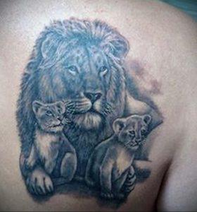 Фото тату на лопатке Лев 09.03.2020 №004 -tattoo on the shoulder- tattoo-photo.ru