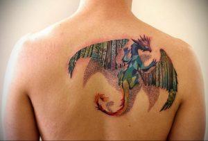 Фото тату на лопатке дракон 09.03.2020 №016 -tattoo on the shoulder- tattoo-photo.ru