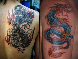 Фото тату на лопатке дракон 09.03.2020 №020 -tattoo on the shoulder- tattoo-photo.ru