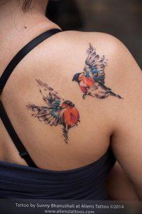 Фото тату с птицей на лопатке 09.03.2020 №001 -tattoo on the shoulder- tattoo-photo.ru