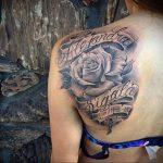 Фото черной тату на лопатке 09.03.2020 №008 -tattoo on the shoulder- tattoo-photo.ru