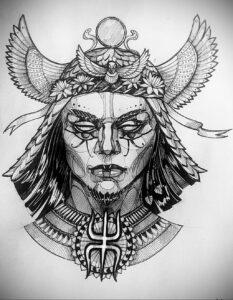 Пример рисунка татуировки Сфинкс 14.12.2020 №033 -sphinx tattoo-tattoo-photo.ru