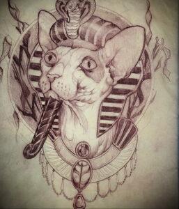 Пример рисунка татуировки Сфинкс 14.12.2020 №066 -sphinx tattoo-tattoo-photo.ru
