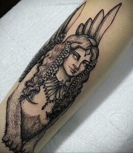 Пример рисунка татуировки Сфинкс 14.12.2020 №070 -sphinx tattoo-tattoo-photo.ru