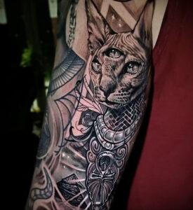 Пример рисунка татуировки Сфинкс 14.12.2020 №073 -sphinx tattoo-tattoo-photo.ru