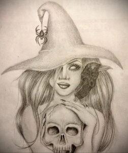 Фото рисунка тату НА ТЕМУ ВЕДЬМ 28.01.2021 №0194 - witch tattoo - tattoo-photo.ru