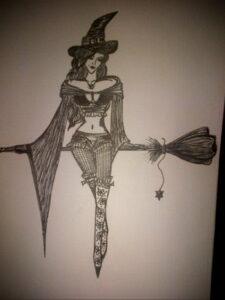 Фото тату метла ведьмы 28.01.2021 №0010 - tattoo witch broom - tattoo-photo.ru