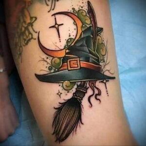 Фото тату метла ведьмы 28.01.2021 №0015 - tattoo witch broom - tattoo-photo.ru