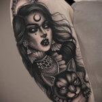 Фото тату про ведьму для девушки 28.01.2021 №0005 - witch tattoo - tattoo-photo.ru