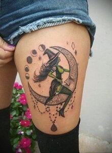Фото тату про ведьму для девушки 28.01.2021 №0006 - witch tattoo - tattoo-photo.ru