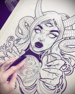 Фото эскиза для тату ведьма 28.01.2021 №0002 - witch tattoo sketch - tattoo-photo.ru