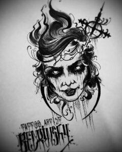 Фото эскиза для тату ведьма 28.01.2021 №0007 - witch tattoo sketch - tattoo-photo.ru