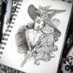 Фото эскиза для тату ведьма 28.01.2021 №0012 - witch tattoo sketch - tattoo-photo.ru