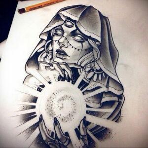 Фото эскиза для тату ведьма 28.01.2021 №0017 - witch tattoo sketch - tattoo-photo.ru