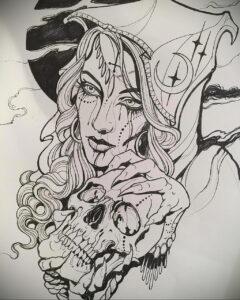 Фото эскиза для тату ведьма 28.01.2021 №0023 - witch tattoo sketch - tattoo-photo.ru