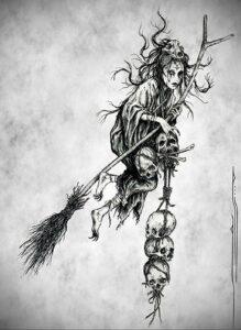 Фото эскиза для тату ведьма 28.01.2021 №0035 - witch tattoo sketch - tattoo-photo.ru
