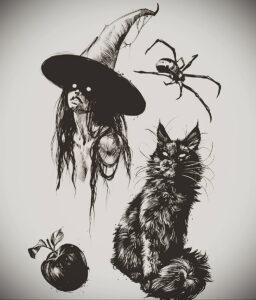 Фото эскиза для тату ведьма 28.01.2021 №0041 - witch tattoo sketch - tattoo-photo.ru