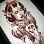 Фото эскиза для тату ведьма 28.01.2021 №0044 - witch tattoo sketch - tattoo-photo.ru
