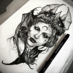 Фото эскиза для тату ведьма 28.01.2021 №0046 - witch tattoo sketch - tattoo-photo.ru