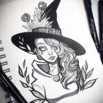 Фото эскиза для тату ведьма 28.01.2021 №0051 - witch tattoo sketch - tattoo-photo.ru