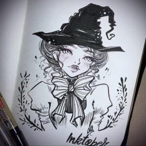 Фото эскиза для тату ведьма 28.01.2021 №0059 - witch tattoo sketch - tattoo-photo.ru
