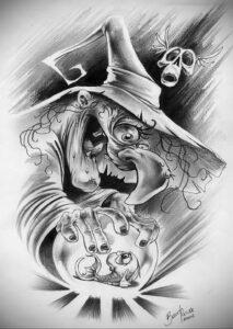 Фото эскиза для тату ведьма 28.01.2021 №0062 - witch tattoo sketch - tattoo-photo.ru