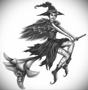 Фото эскиза для тату ведьма 28.01.2021 №0064 - witch tattoo sketch - tattoo-photo.ru